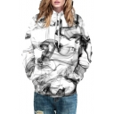 Chic Color Block Smoke Printed Long Sleeve Hoodie