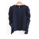 New Arrival Ruched Long Sleeve Round Neck Keyhole Back Striped Blouse