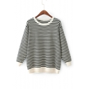 Round Neck Long Sleeve Chic Striped Pattern Pullover Sweater