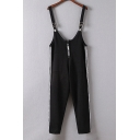 New Fashion Striped Sides Zip Front Sleeveless Knitted Overalls
