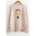 Lovely Cartoon Girl Embroidered Dipped Hem Long Sleeve Round Neck Sweater