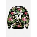 Fashion Digital Floral Pattern Round Neck Long Sleeve Unisex Sweatshirt