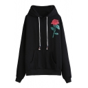 Fashion Floral Pattern Long Sleeve Casual Loose Hoodie with Pockets