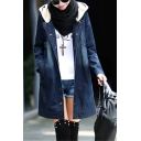 Casual Oversize Hooded Long Sleeve Buttons Down Tunic Denim Coat
