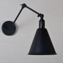 Industrial Swing Arm Wall Sconce in Conical Shade Metal Black/White Study Room Bedside Wall Lighting