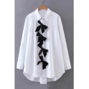 Women's Contrast Bow Detail Single Breasted Lapel Long Sleeve Shirt