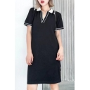 New Arrival Collared Short Sleeve Casual Leisure Shift Midi T-Shirt Dress