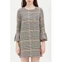 Classic Plaids Pattern Round Neck Flared Sleeve Mini Shift Dress