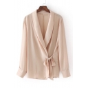 New Arrival Fashion Lapel Collar Long Sleeve Chic Tied Side Plain Blouse Top