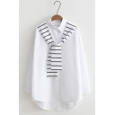 New Arrival Lapel Collar Long Sleeve Buttons Down Loose Shirt with Striped Tie