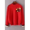 Women's Floral Letter Embroidery Round Neck Long Sleeve Sweater