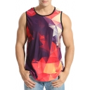 New Trendy Casual Loose Sports Geometric Pattern Round Neck Tank Tee