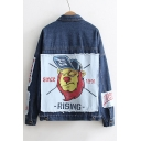 Cartoon Lion Printed Appliqued Long Sleeve Single Breasted Lapel Denim Jacket