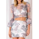 Summer's Chic Floral Pattern Sheer Mesh Round Neck Long Sleeve Crop Top with Mini Bodycon Skirt