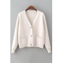 Basic Simple Plain Long Sleeve Buttons Down Cardigan with Double Pockets