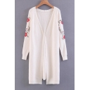 Chic Embroidery Floral Long Sleeve V-Neck Tunic Cardigan