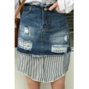 Fashion Fake Two-Piece Striped Printed Patched Mini Bodycon Denim Skirt