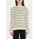 Fashion Flared Cuff Long Sleeve Round Neck Striped Pattern Slim Sweater