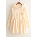 Lovely Embroidery Pattern Pocket Animal Ear Hooded Long Sleeve Mini Smock Dress