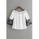 Sexy Off the Shoulder Lace Patchwork 3/4 Length Sleeve Blouse
