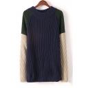 Fashion Contrast Raglan Long Sleeve Round Neck Tunic Sweater