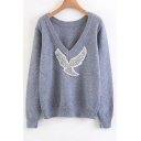 New Fashion Beading Bird Pattern V Neck Long Sleeve Pullover Sweater