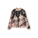Striped Stand-Up Collar Floral Printed Raglan Long Sleeve Zip Up Baseball Jacket