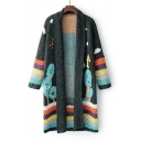 Graphic Pattern Striped Color Block Open Front Long Sleeve Tunic Cardigan