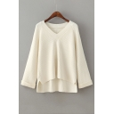 Fashion High Low Hem V Neck Long Sleeve Simple Plain Sweater