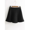 Basic Simple Plain High Waist Sweet Mini A-Line Skirt
