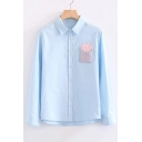 Fashion Fries Pocket Patched Lapel Collar Long Sleeve Buttons Down Shirt