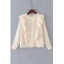 Chic Ruffle Hem Striped Pattern Round Neck Long Sleeve Pullover Blouse