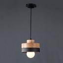 Industrial Simple Wood Pendant Hanging Lamp Indoor Light Fixture in Cylinder Shape