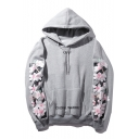 Hip Hop Style Chic Floral Pattern Long Sleeve Sports Unisex Hoodie