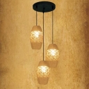 10 Inches Burlap 3 Light Multi Light Pendant with Natural Rope