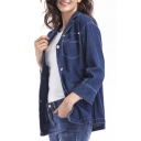 Casual Notched Lapel Long Sleeve Single Breasted Plain Denim Jacket