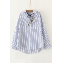 Striped Embroidery Floral Pattern V-Neck Dropped Long Sleeve Blouse
