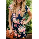 Summer's Fashion Floral Pattern Plunge Neck Short Sleeve Casual Rompers