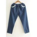 Contrast Embellished Pockets Trim Elastic Waist Casual Jeans