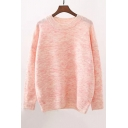 Fashion Round Neck Long Sleeve Plain Pullover Sweater