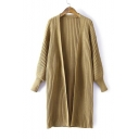 New Trendy Lantern Long Sleeve Open Front Simple Plain Longline Cardigan