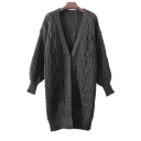 Fashion Diamond Check Pattern Lantern Long Sleeve Knit Longline Cardigan
