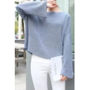 Loose Leisure Casual Boat Neck Long Sleeve Plain Pullover Sweater
