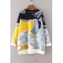 Loose Color Block Pattern Round Neck Long Sleeve Pullover Sweater