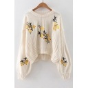 Chic Dipped Hem Lemon Embroidered Round Neck Long Sleeve Casual Sweater