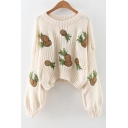 New Arrival Fashion Pineapple Embroidered Round Neck Long Sleeve Cropped Sweater