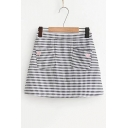Embroidery Heart Pockets Elastic Waist Plaid Mini A-Line Skirt