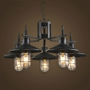 Nautical Style 5 Light Chandelier in Black with Wire Guard for Restaurant Bar