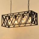 Industrial Island Lamp LOFT 4 Light with Wire Metal Cage in Black