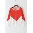 New Arrival Chic Color Block Hollow Out Round Neck Long Sleeve Sweater